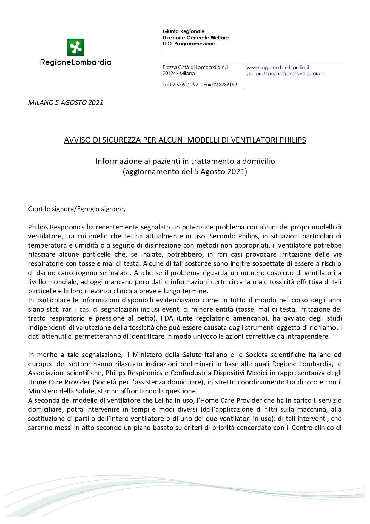 Nota Regione Lombardia 5 agosto su Avviso Sicurezza Philips